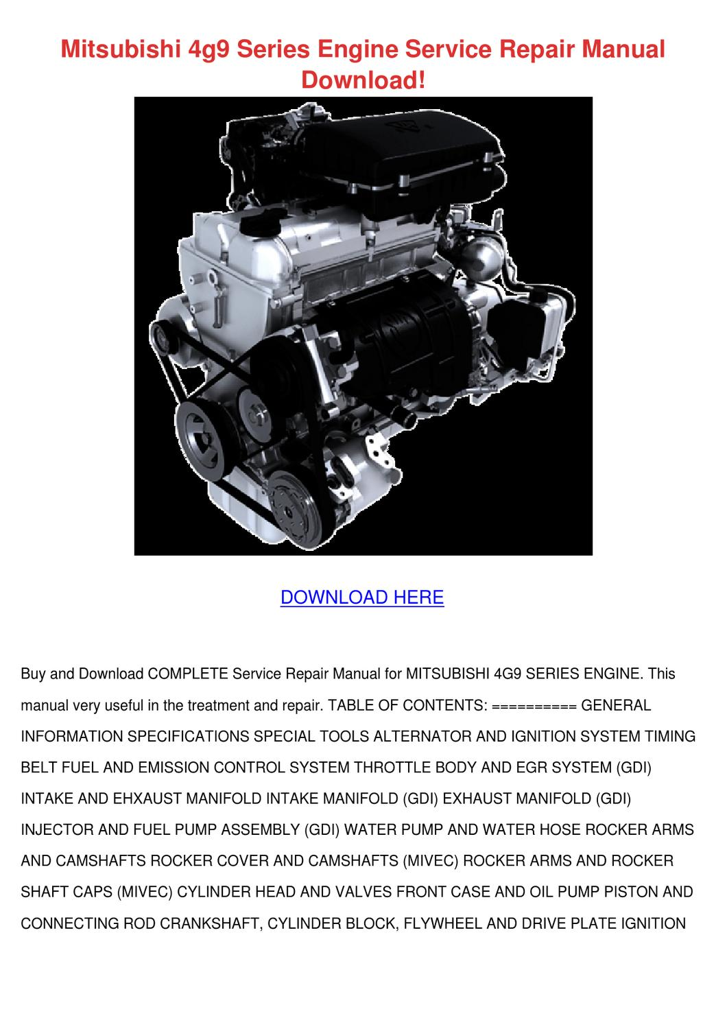 Mitsubishi 4g9 Series Engine Service Repair M By Raven Ideue Issuu L200 Ignition Wiring Diagram