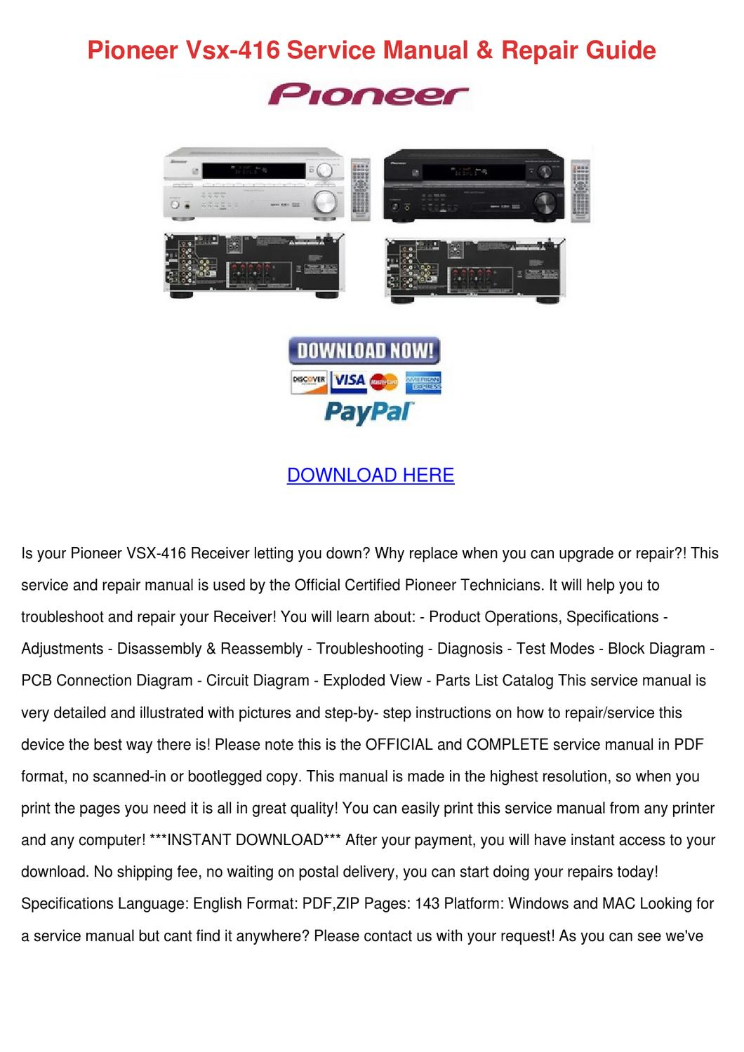 Pioneer Vsx 416 Service Manual Repair Guide by Amberly Peart - issuu