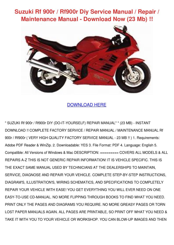 Suzuki Rf 900r Rf900r Diy Service Manual Repa By Amberly