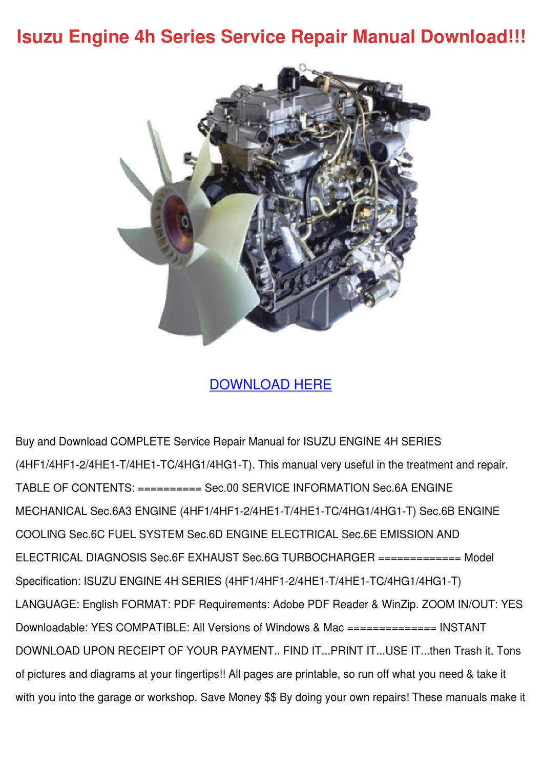 Isuzu Engine 4h Series Service Repair Manual by Shonta Wede - issuu