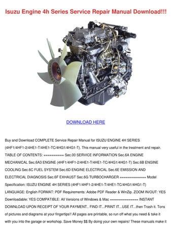 Isuzu Engine 4h Series Service Repair Manual By Shonta Wede Issuu