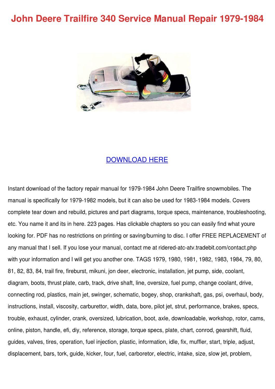 John Deere Trailfire 340 Service Manual Repai by Shonta Wede