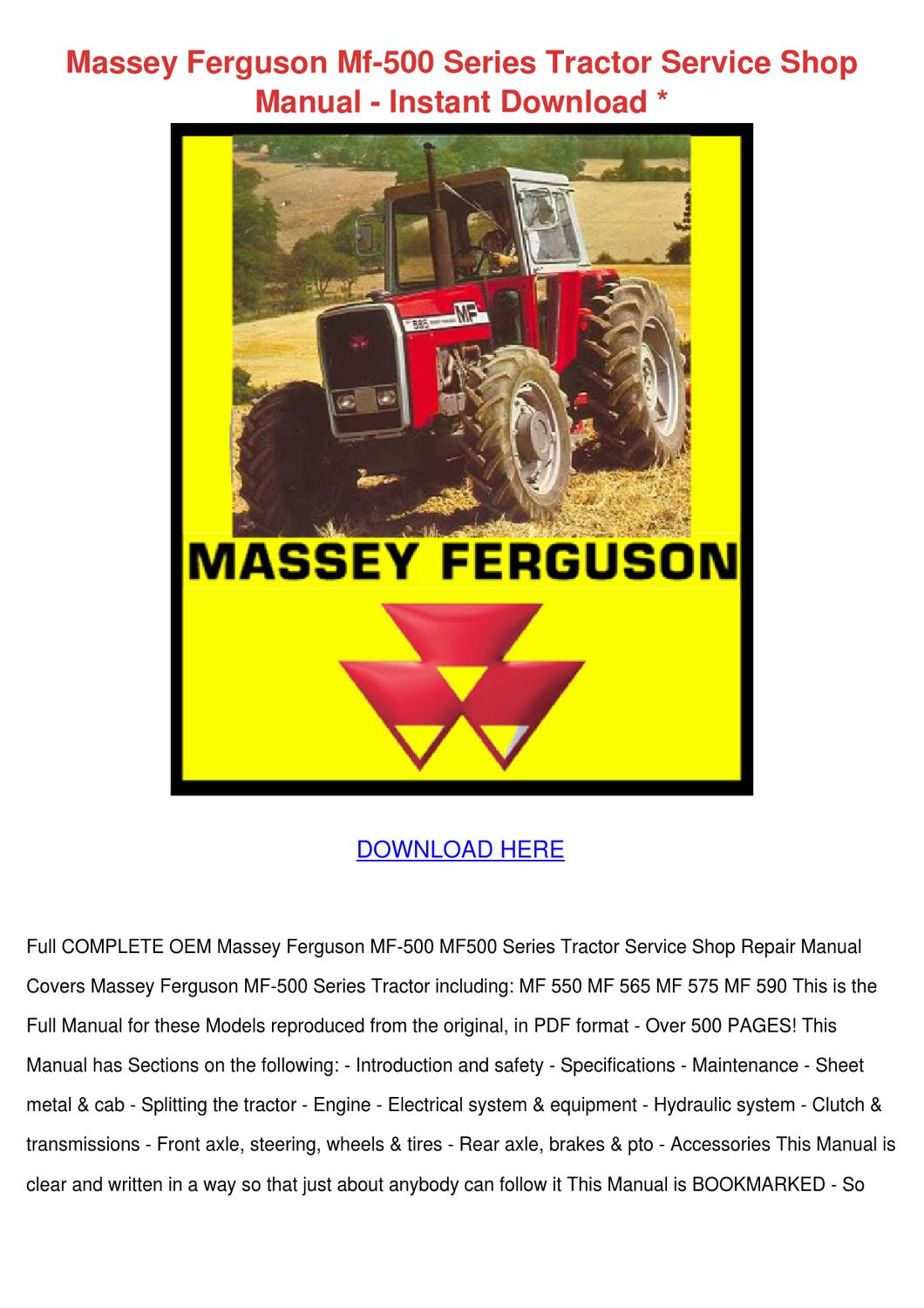 Massey Ferguson Mf 500 Series Tractor Service by Shonta Wede