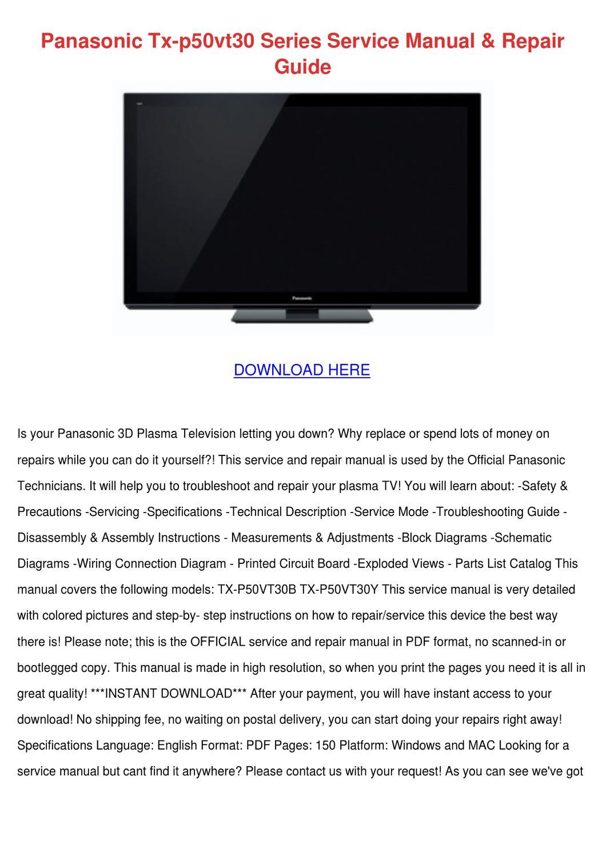 Panasonic Tx P50vt30 Series Service Manual Re By Carmen