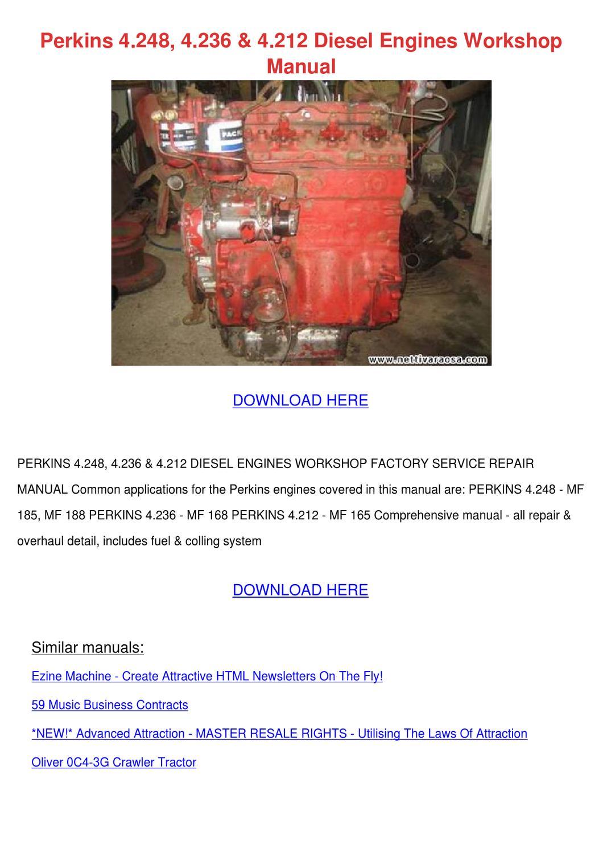 Perkins 4248 4236 4212 Diesel Engines Worksho by Carmen Montone ...