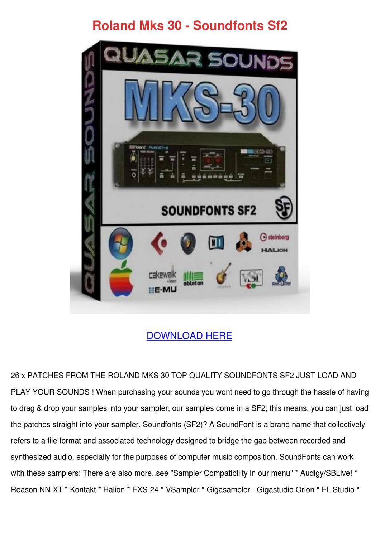 Roland Mks 30 Soundfonts Sf2 by Carmen Montone - issuu