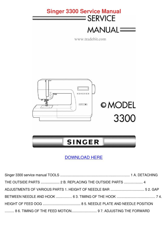 Singer 3300 Service Manual by Carmen Montone - issuu