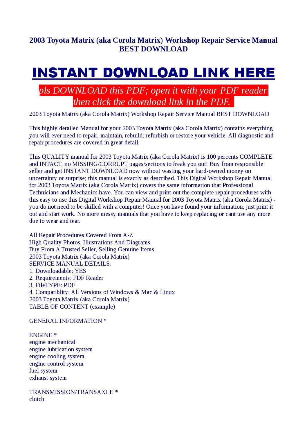 2003 toyota matrix (aka corola matrix) workshop repair service manual best  download by Kato Syomo - issuu