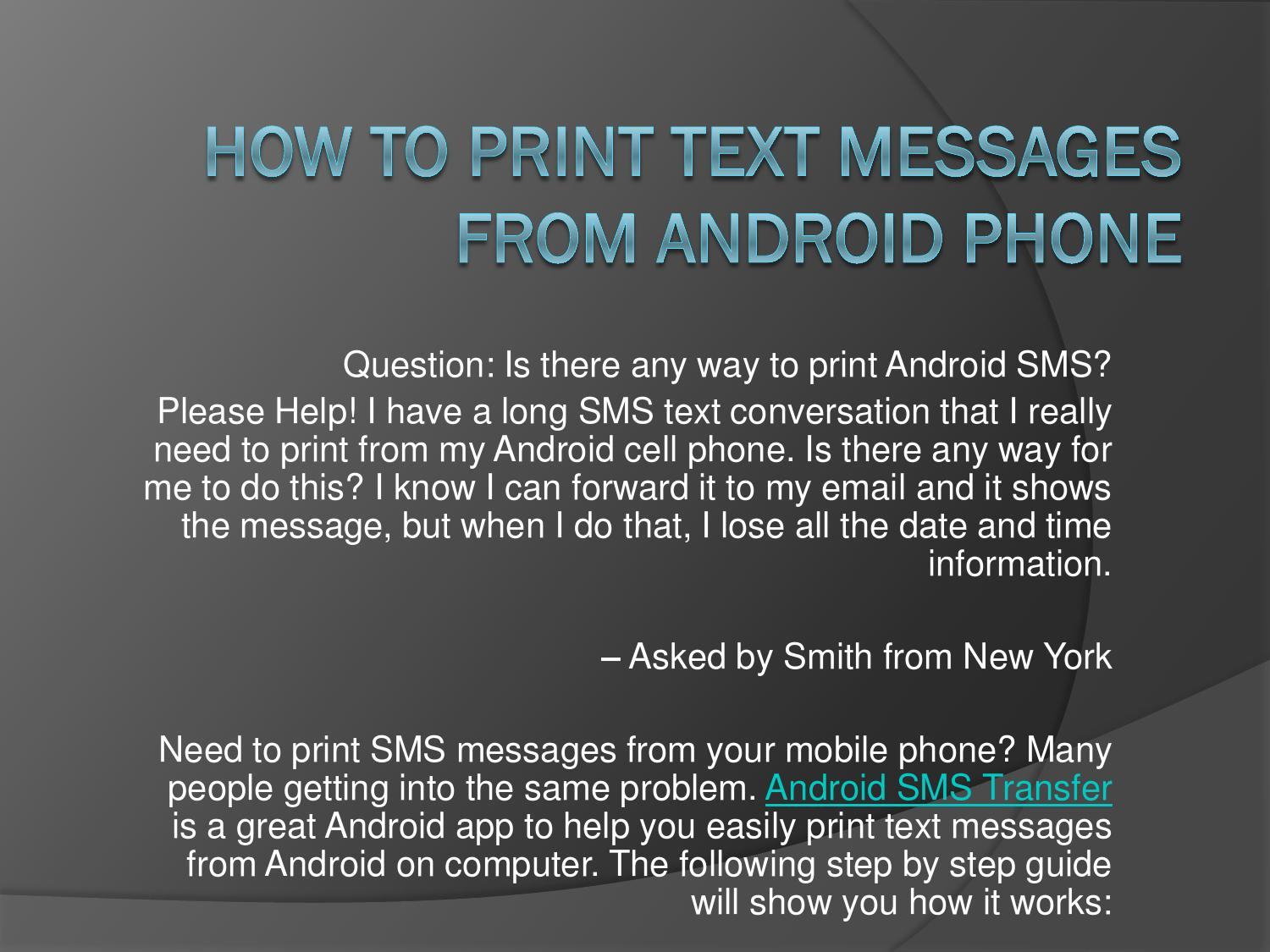 How to print SMS