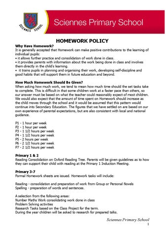 Sciennes Primary Homework Policy by Sciennes Primary School - issuu