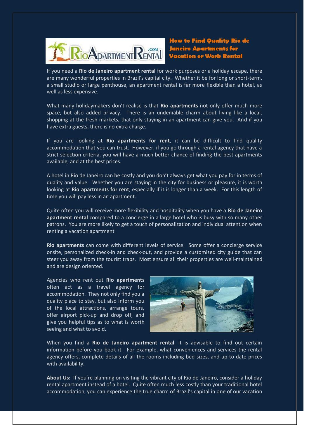 How To Find Quality Rio De Janeiro Apartments For Vacation Or Work Rental 4  By David Eger   Issuu