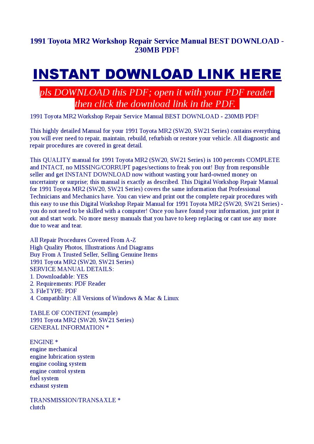 1991 Toyota Mr2 Workshop Repair Service Manual Best Download 230mb Power Steering Wiring Diagram Pdf By Kato Syomo Issuu
