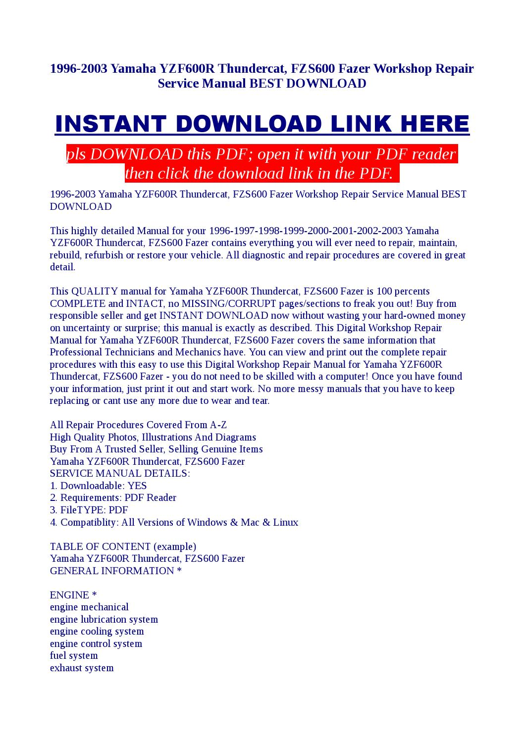 1996 2003 yamaha yzf600r thundercat, fzs600 fazer workshop repair service  manual best download by Kato Syomo - issuu