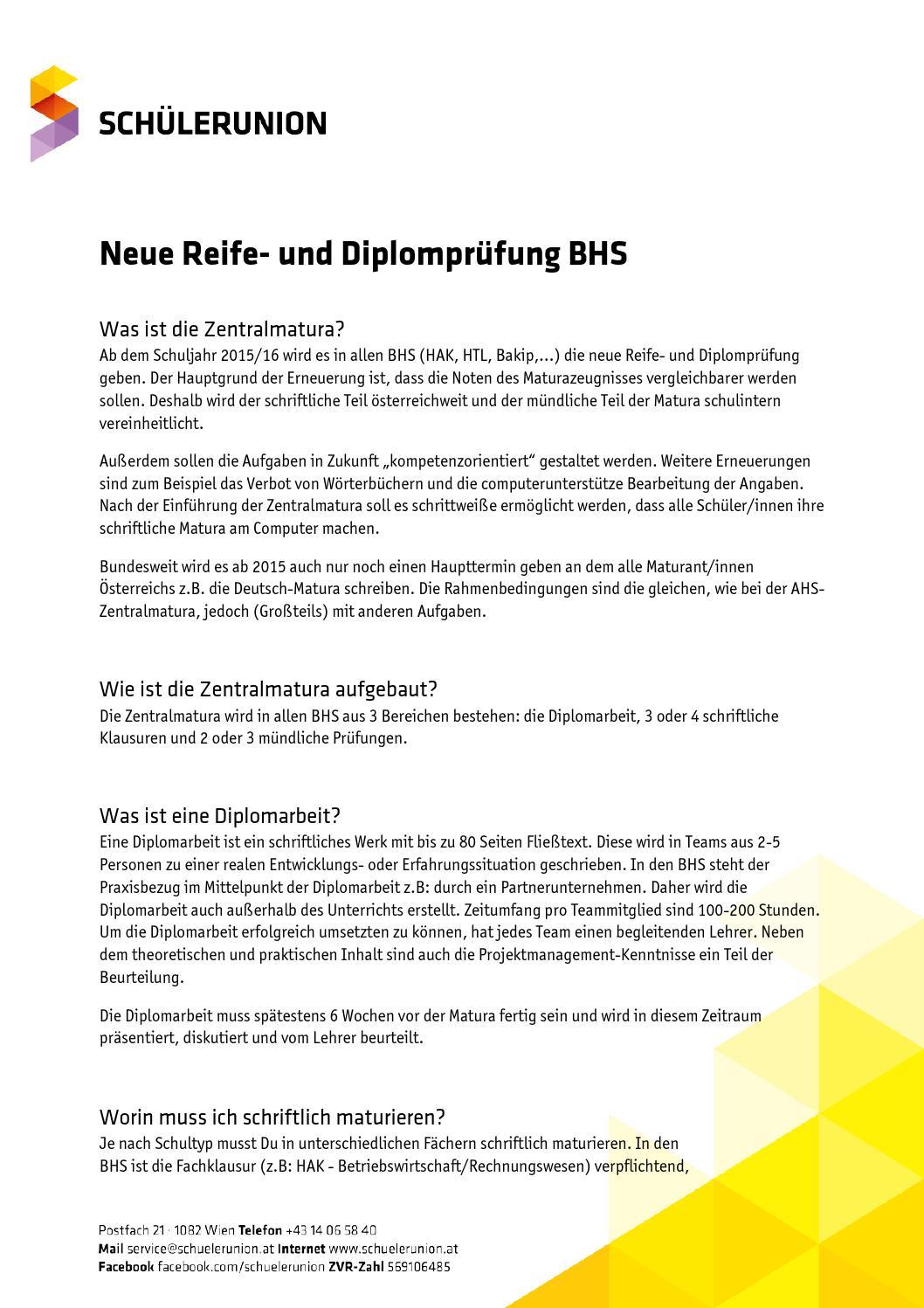Neue Reife Und Diplomprüfung Bhs By Schülerunion österreich Issuu