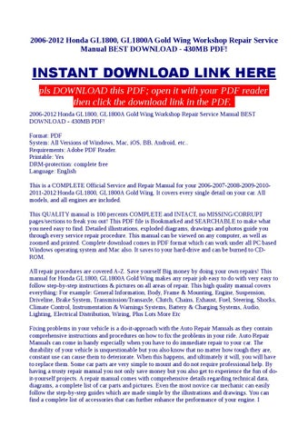 Honda s wing service manual by barryogorman60 issuu 2006 2012 honda gl1800 gl1800a gold wing workshop repair service manual best download 430mb pdf fandeluxe Choice Image