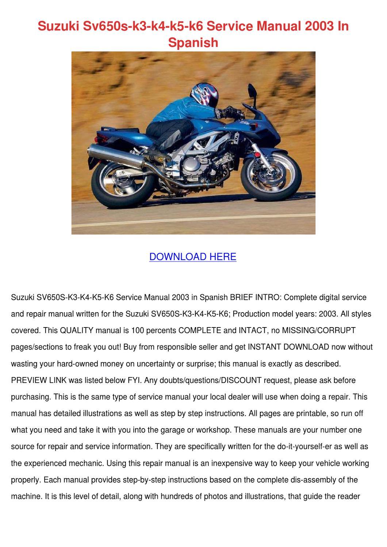 Suzuki Sv650s K3 K4 K5 K6 Service Manual 2003 by Trudie Covalt - issuu