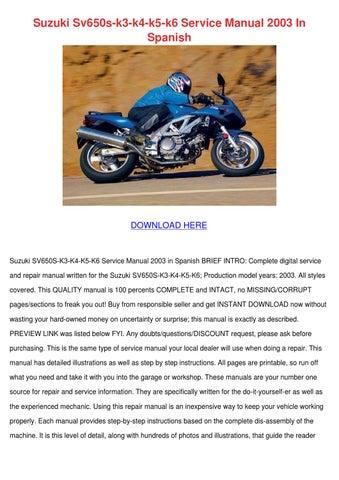 Suzuki sv650s k3 k4 k5 k6 service manual 2003 by trudie covalt issuu suzuki sv650s k3 k4 k5 k6 service manual 2003 in spanish fandeluxe Gallery