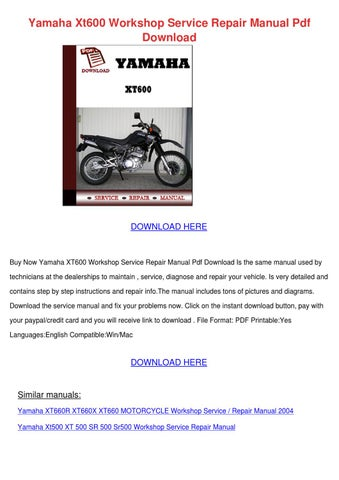 1989 yamaha xt 600 owners manual