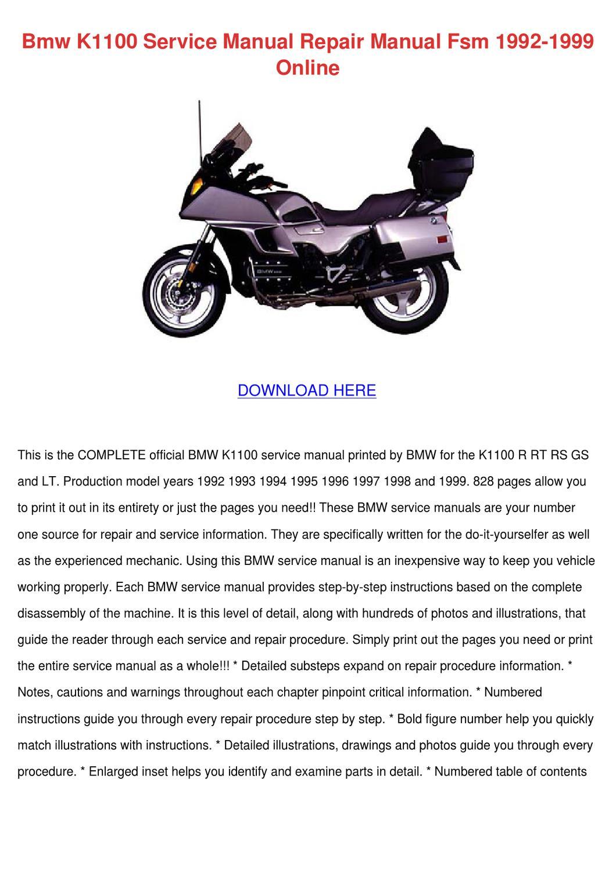 Bmw K1100 Service Manual Repair Manual Fsm 19 by Debrah Hungate ...
