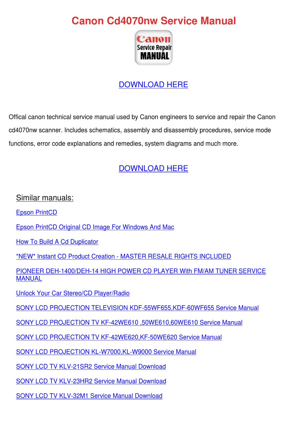 Canon Cd4070nw Service Manual by Debrah Hungate - issuu