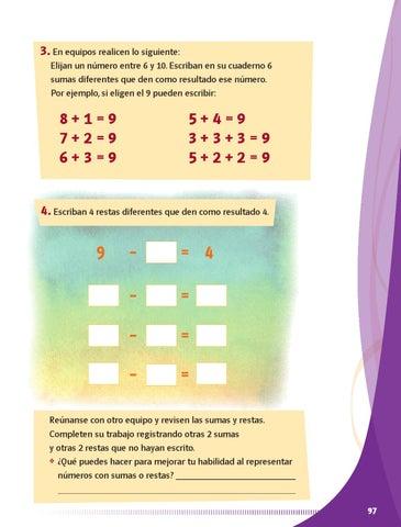 Escriban en su cuaderno 6 sumas diferentes que den como resultado ese  número. Por ejemplo, si eligen el 9 pueden escribir  9ad11f8309