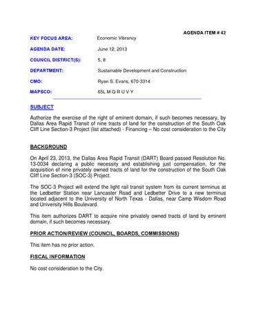 Dallas City Council Agenda: June 12, 2013 Part II by