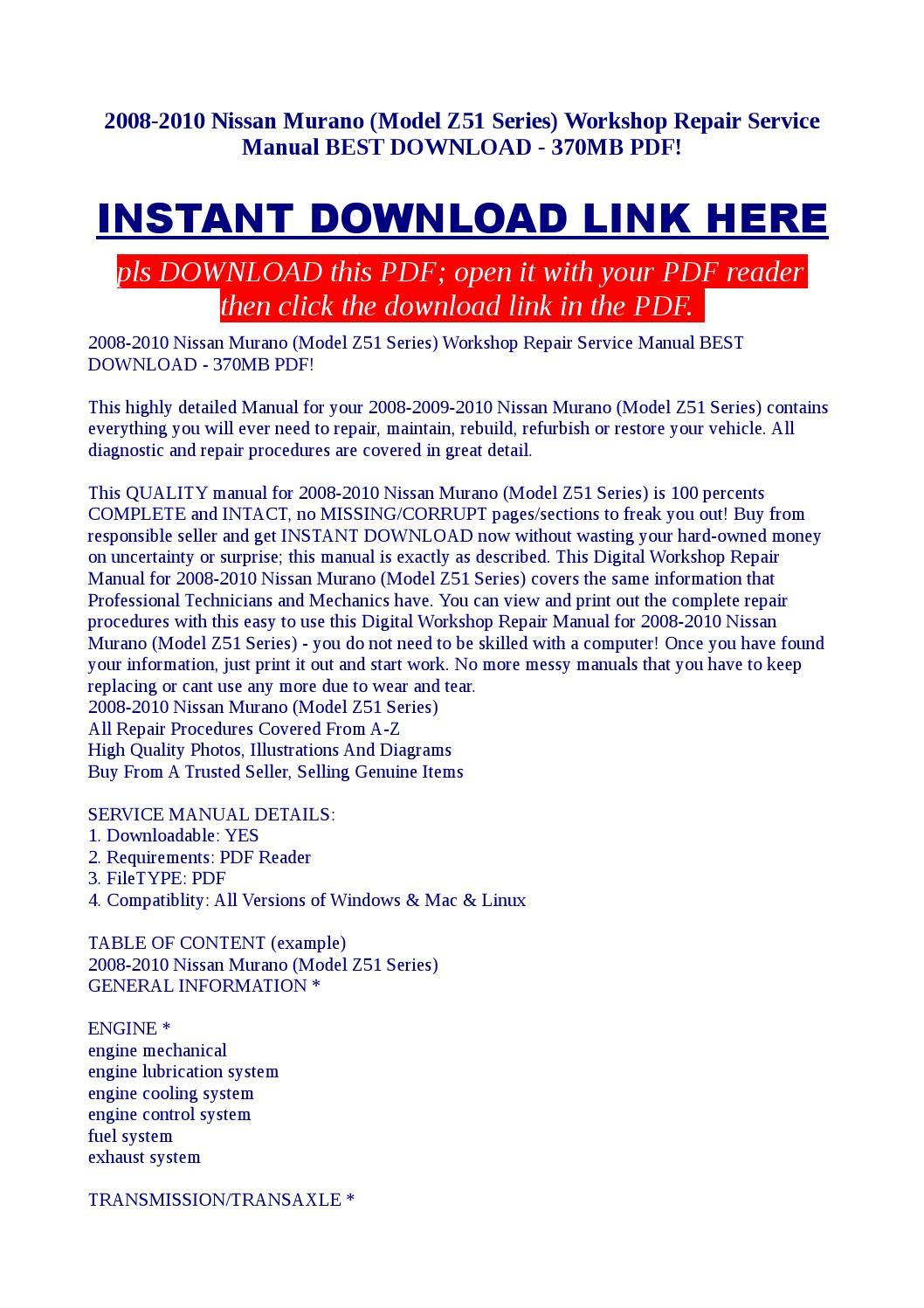 Service & Repair Manuals NISSAN MURANO Z51 SERIES WORKSHOP SERVICE ...