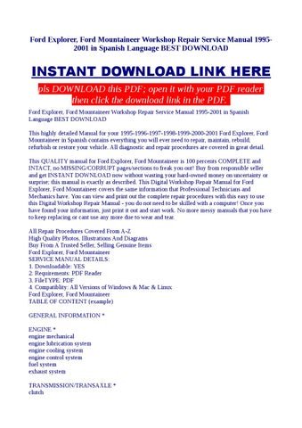 Free 1998 ford explorer service manual by stuartsimpson4822 issuu ford explorer ford mountaineer workshop repair service manual 1995 2001 in spanish language best do fandeluxe Gallery