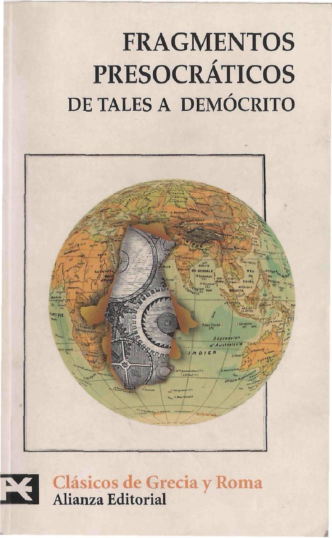 Alberto Bernabé Fragmentos Presocráticos De Tales A