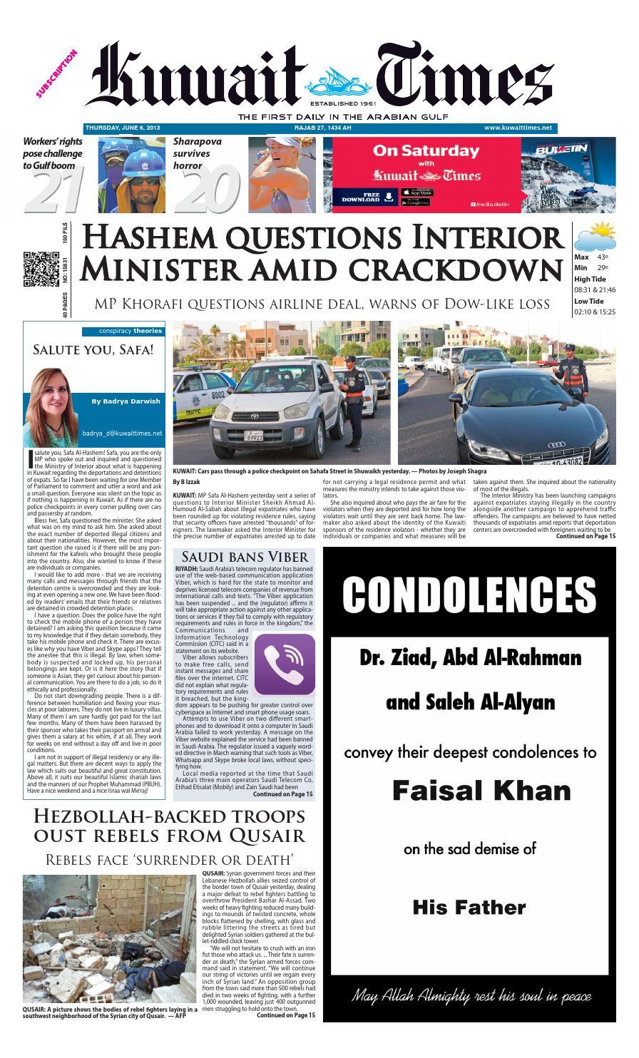 6 Jun 2013 by Kuwait Times - issuu