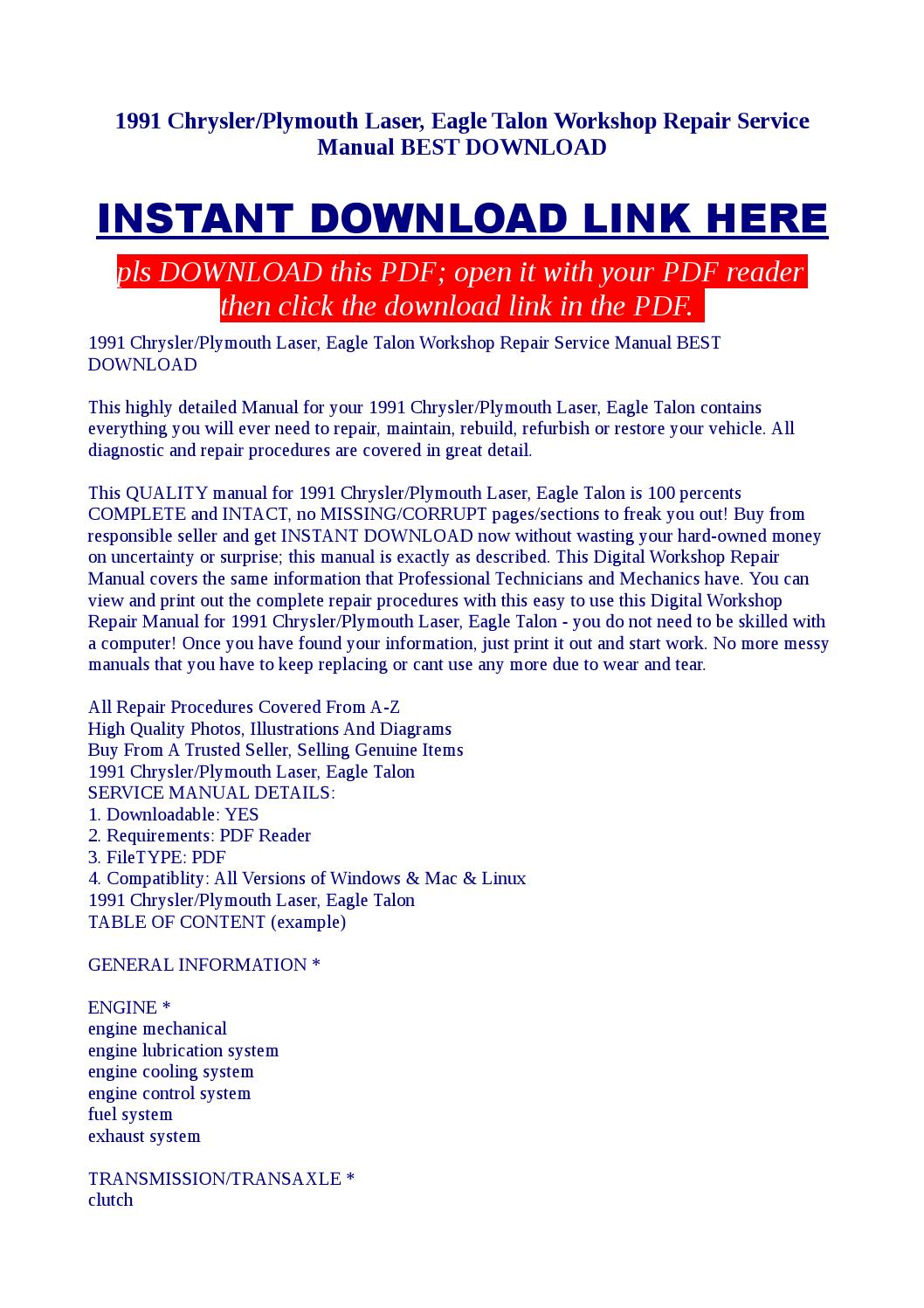 1991 Chrysler Plymouth Laser Eagle Talon Workshop Repair Service 3 Engine Diagram Manual Best Download By Kato Syomo Issuu