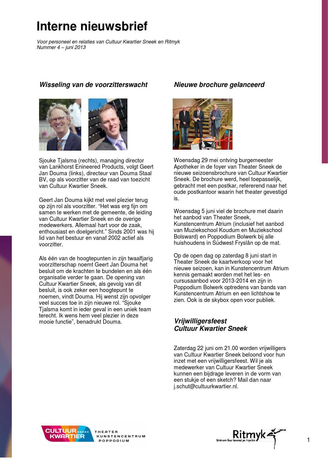 Interne nieuwsbrief Cultuur Kwartier Sneek en Ritmyk juni 2013 by ...
