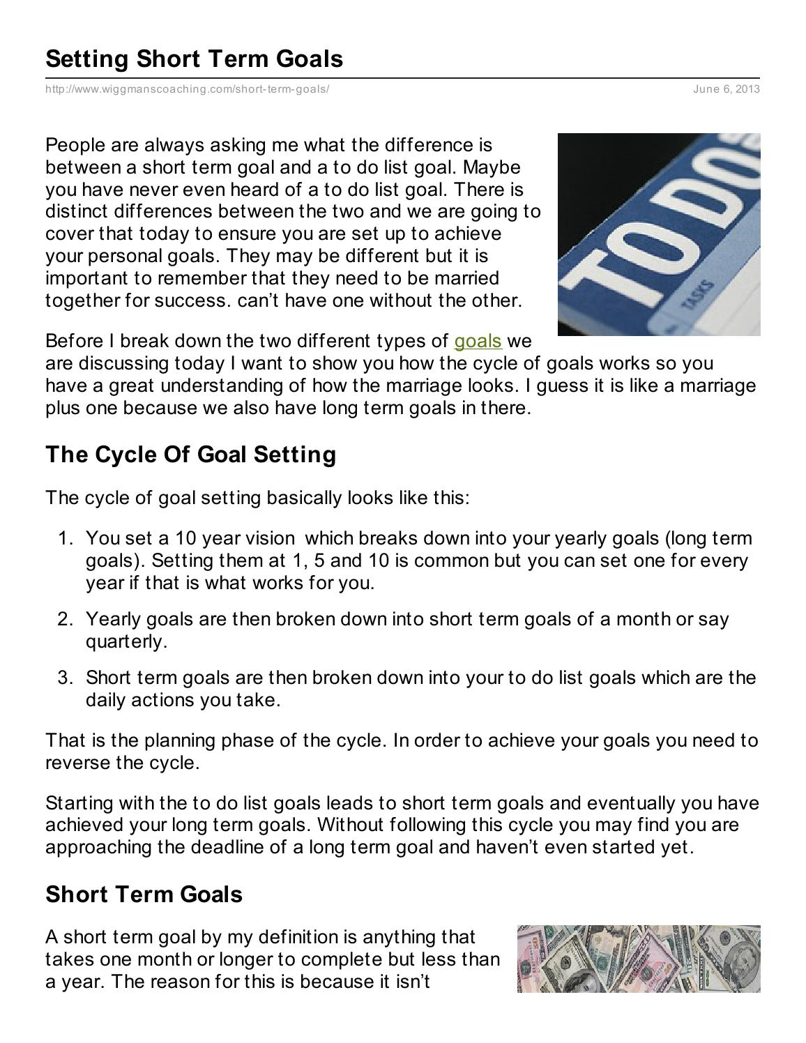 setting short term goals by darrin wiggins - issuu