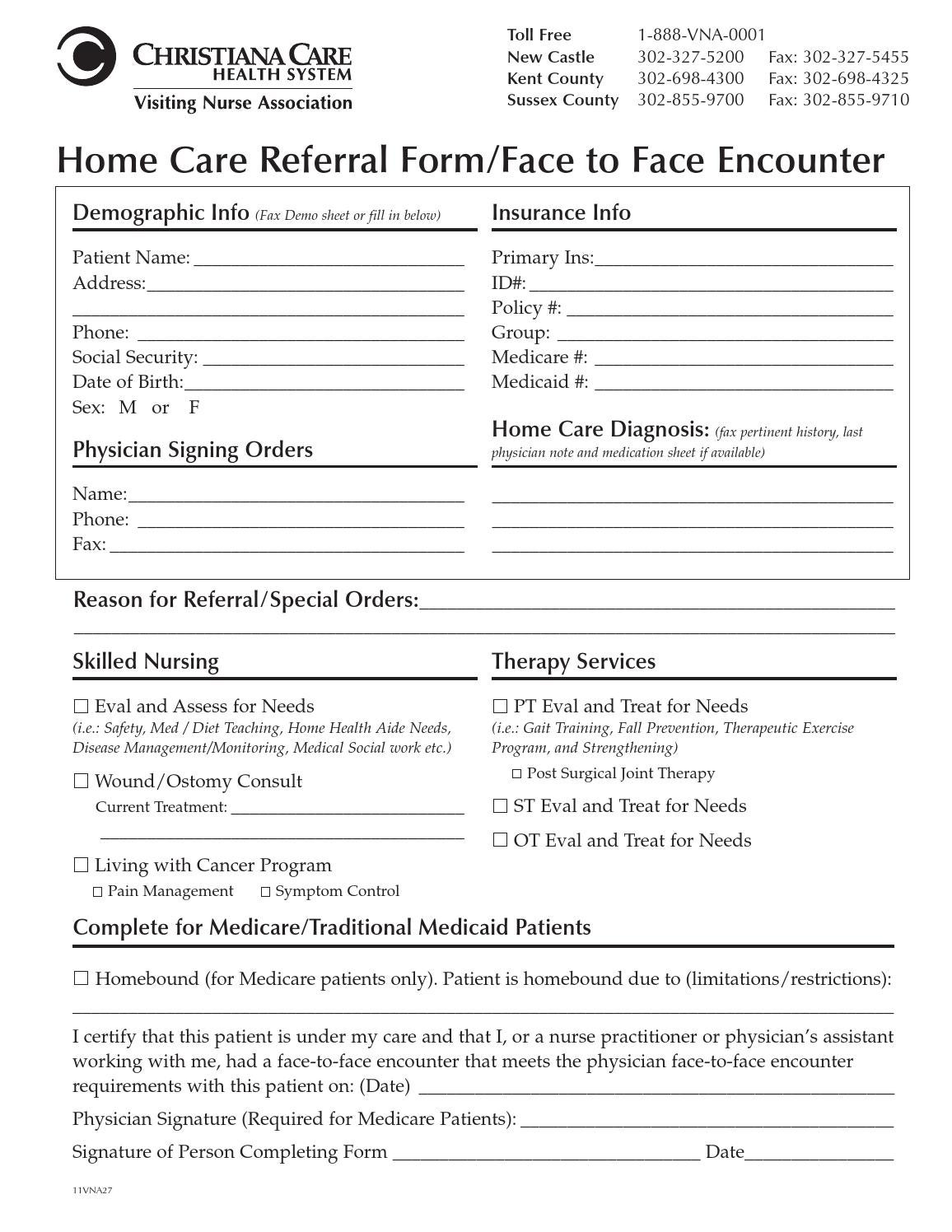 home care referral form by christiana care health system