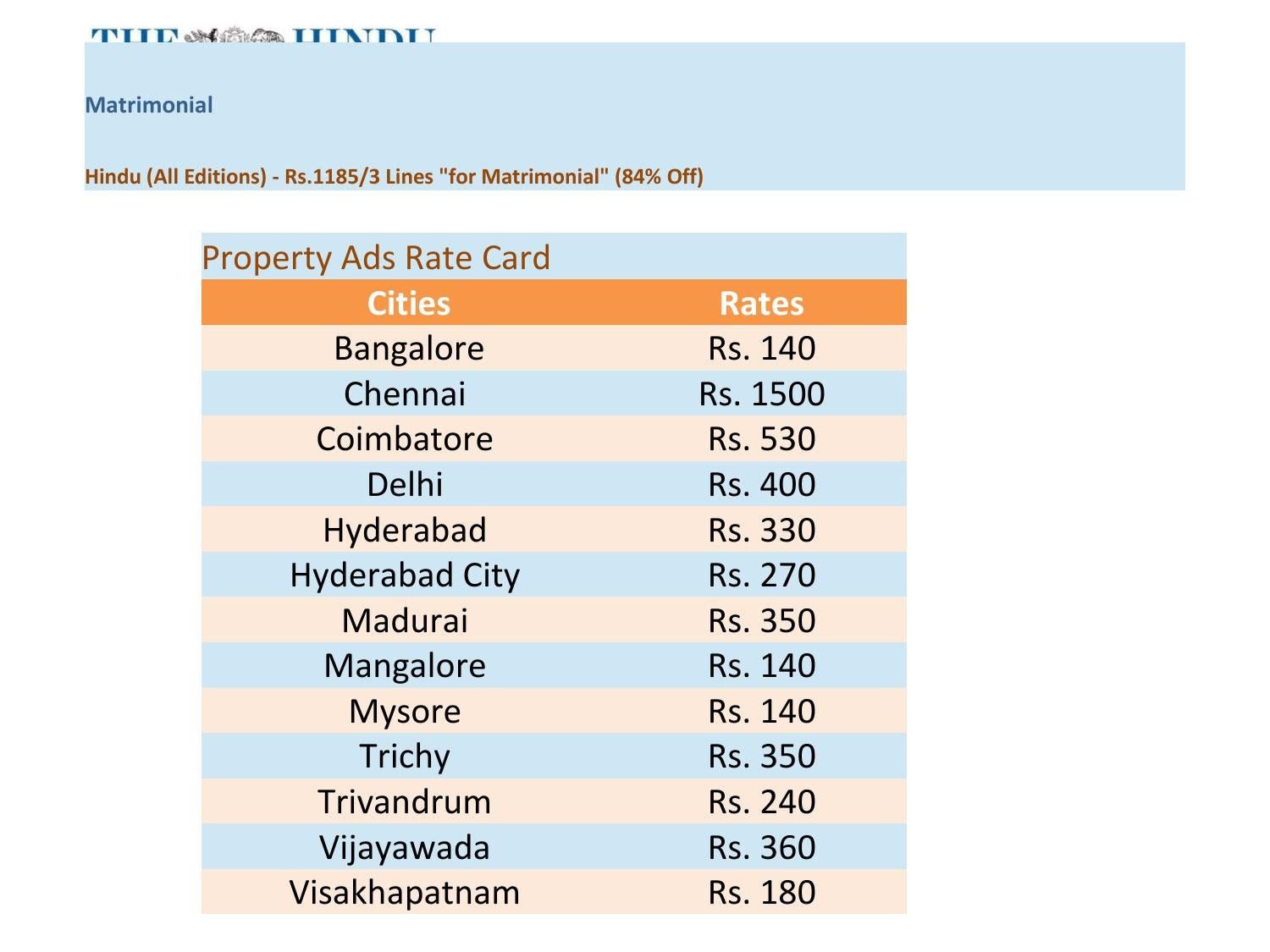 Hindu rate card 2013 releasemyad by releasemyad online