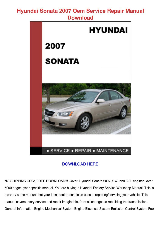 Hyundai Sonata 2007 Oem Service Repair Manual by DominickChristy ...
