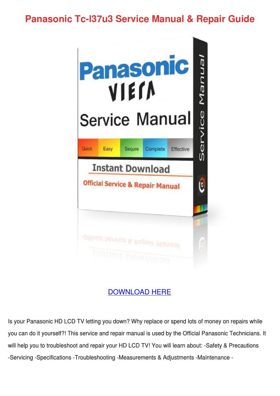 panasonic tc l32x2 service manual repair guide