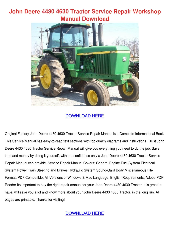 John Deere 4430 4630 Tractor Service Repair W By