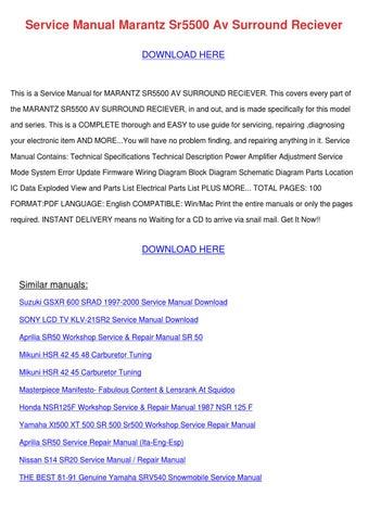 service manual marantz sr5500 av surround rec by alberthatuttle issuu rh issuu com
