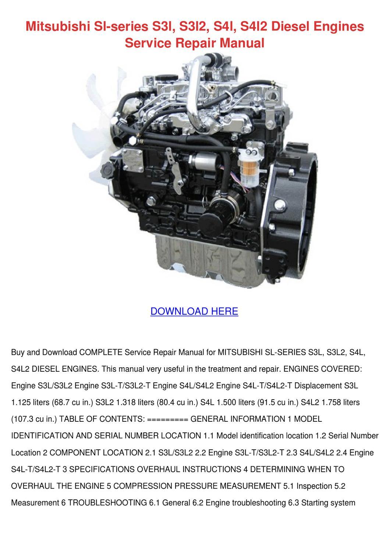 Mitsubishi Sl Series S3l S3l2 S4l S4l2 Diesel by DominickChristy ...