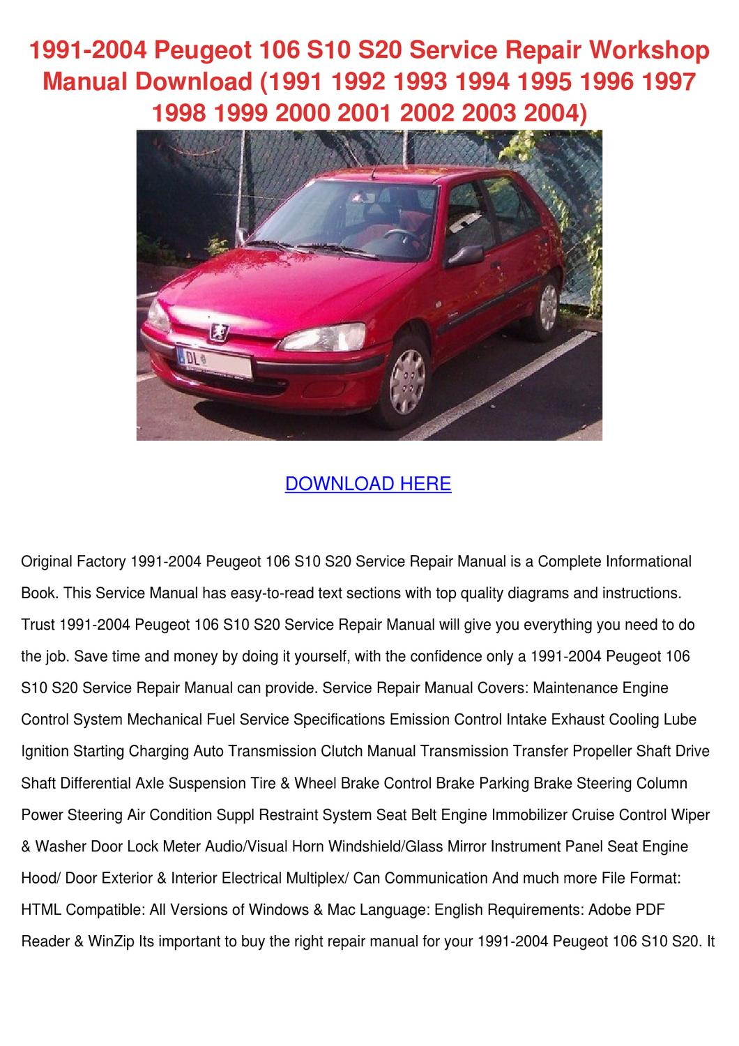 1991 2004 Peugeot 106 S10 S20 Service Repair By Feliciadailey