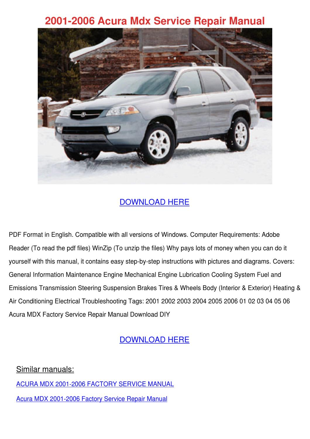 2001 2006 acura mdx service repair manual by feliciadailey issuu rh issuu com acura mdx 2003 repair manual download acura mdx 2003 owners manual