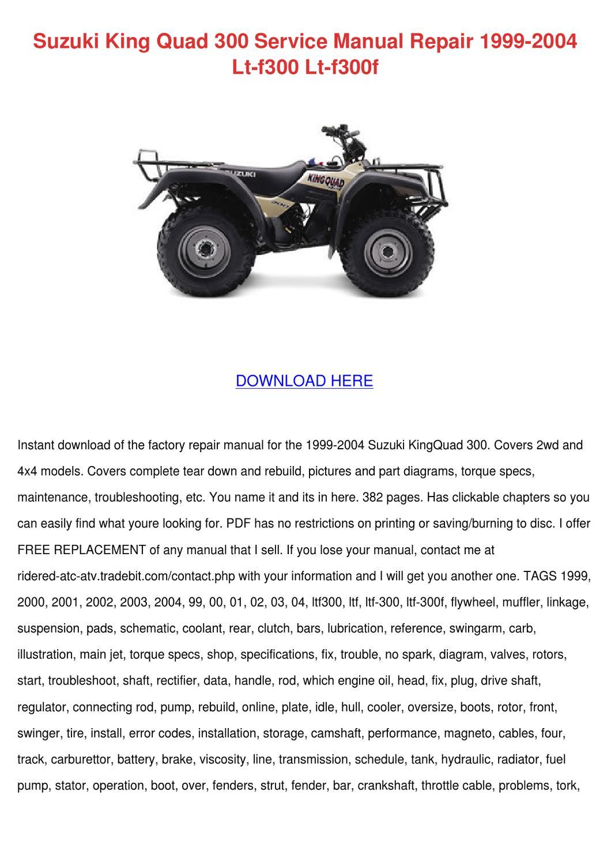 Suzuki King Quad 300 Service Manual Repair 19 by