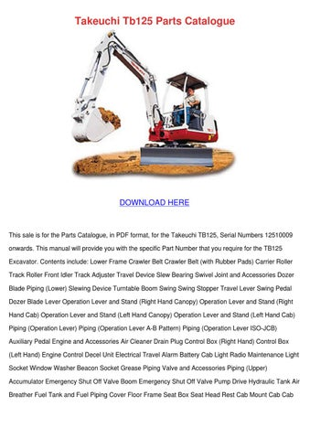 Takeuchi Tb125 Parts Catalogue By Edisonconnolly Issuu