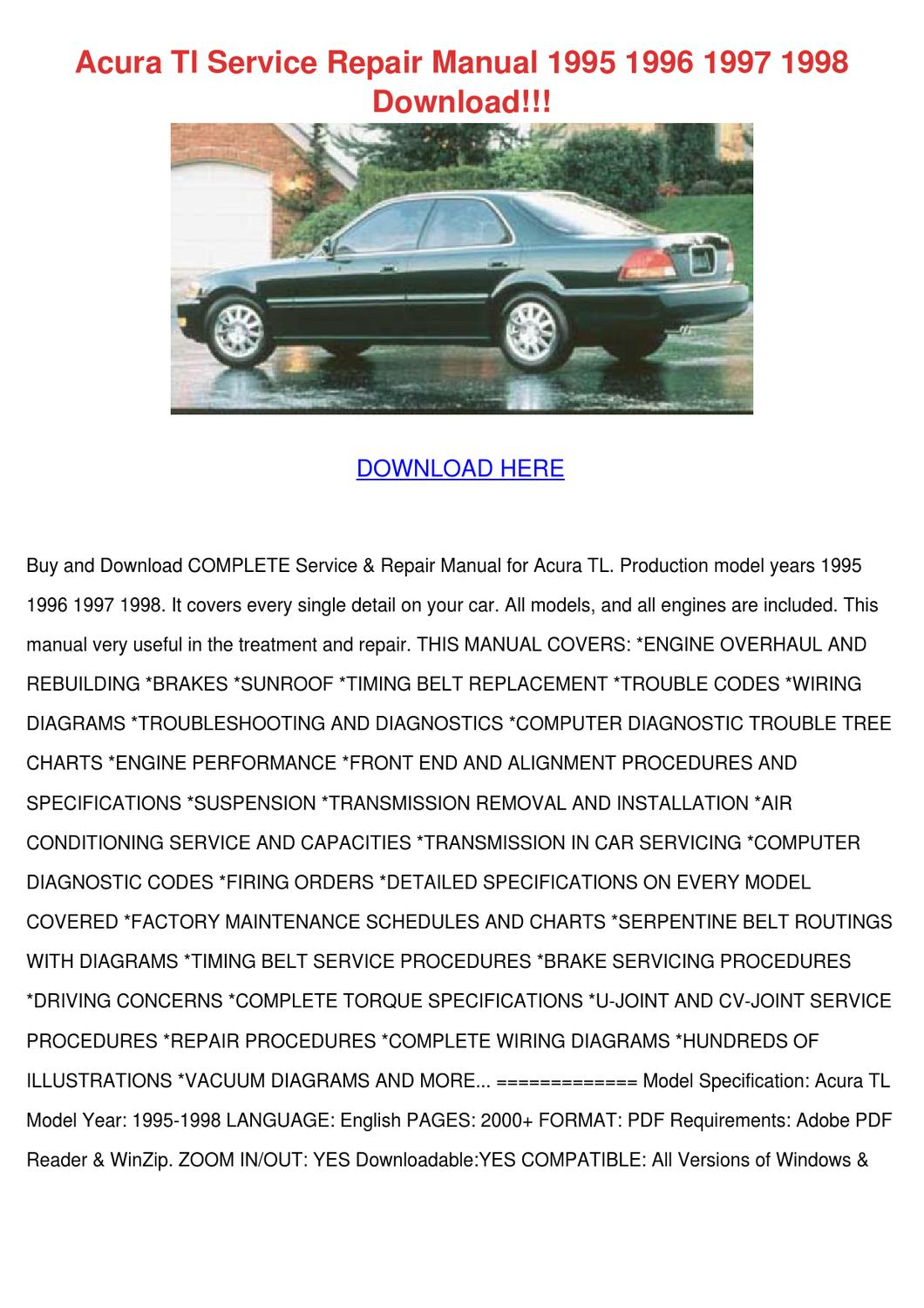Acura Tl Service Repair Manual 1995 1996 1997 By Feliciadailey Issuu Wiring Diagram For Rl