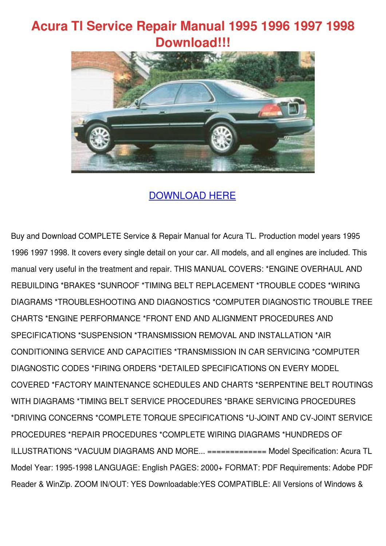 Acura Tl Service Repair Manual 1995 1996 1997 by FeliciaDailey - issuu
