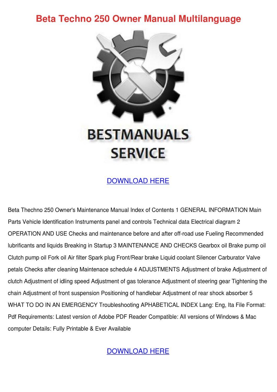 Beta Techno 250 Owner Manual Multilanguage by FeliciaDailey - issuu