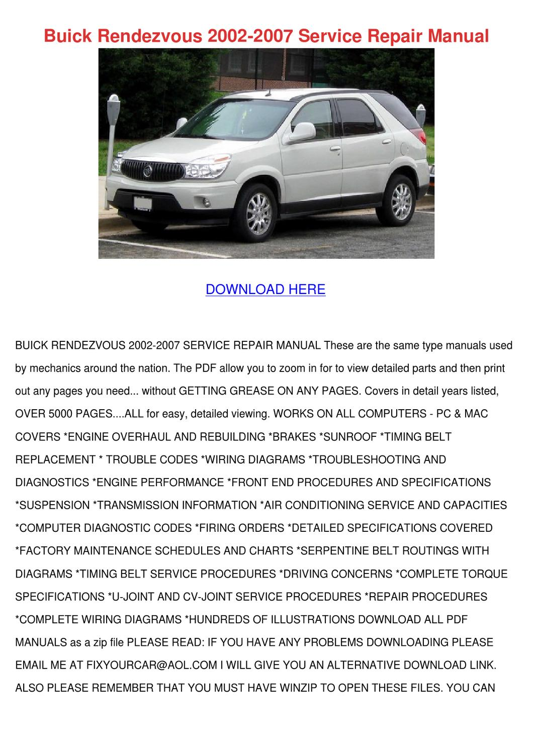 Buick Rendezvous 2002 2007 Service Repair Man By