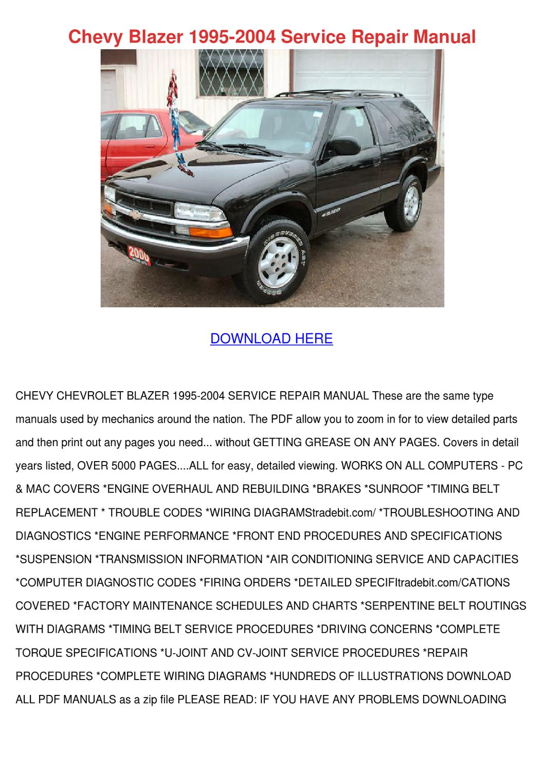 Chevy Blazer 1995 2004 Service Repair Manual by ...