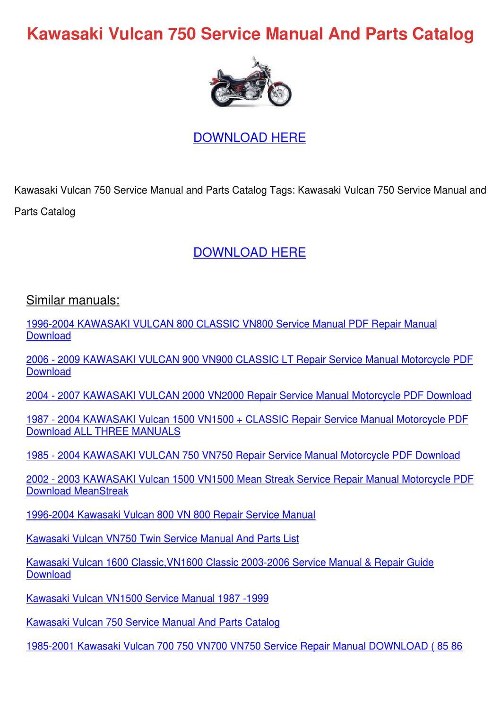 Kawasaki Vulcan 750 Service Manual And Parts By border=